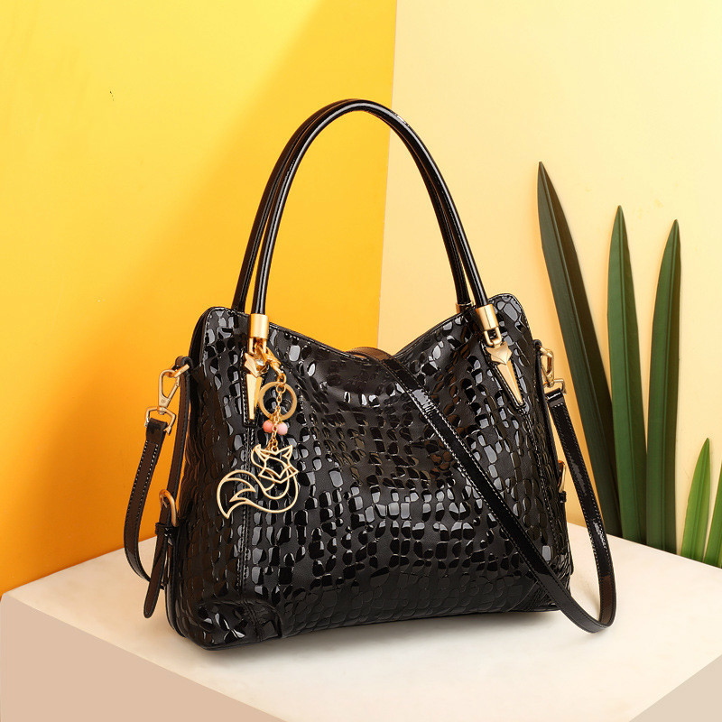 Fashion Real Genuine Cow Leather Shoulder Bag Sequin Cowhide Handbags High Quality Female Luxury Bags Designer Tote For Women
