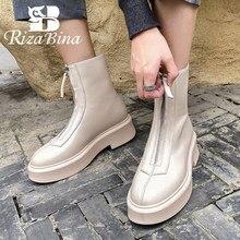 RIZABINA prawdziwe skórzane damskie krótkie buty zamek szpilki zimowe buty kobieta ciepła moda biuro Lady Party obuwie rozmiar 33-40