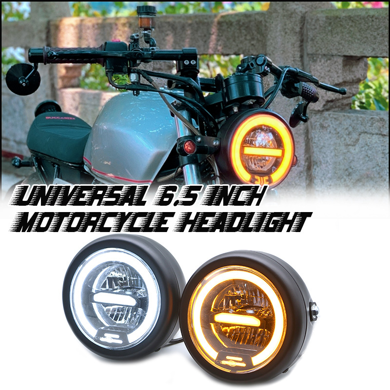 Universal Motorcycle LED Headlamp 6.5 Inch Headlight DRL Vintage High Quality Distance Light Refit For Cafe Racer Head Lamp