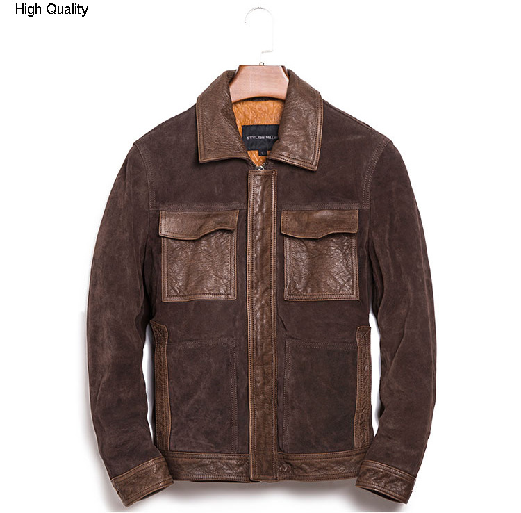 Autumn Leisure Style Men's Genuine Leather Jacket Cowhide Suede Leather Winter Coat Lapel Slim Short Locomotive Clothing Brown