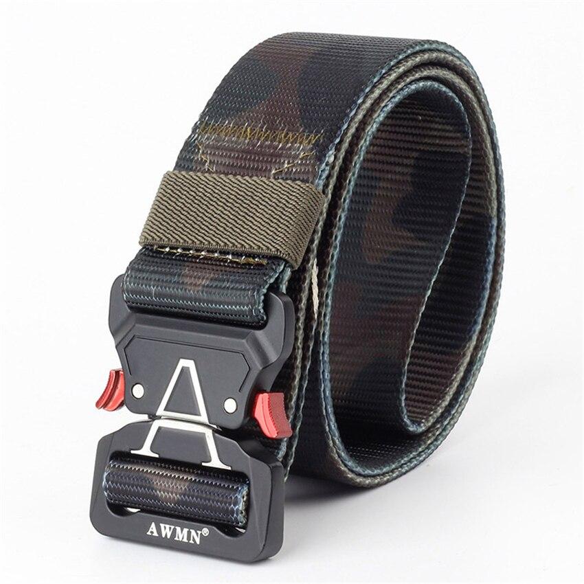 10 Colors Military Equipment Long Belt Men Tactical Designer Army Belts For Trousers Nylon Strap Canvas Metal Buckle Waist Belt