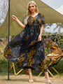 2021 Women's Summer Sundresses Plus Size 5XL Female V Neck Short Sleeve Floral Print Casual Beach Dress Large Maxi Party Dresses