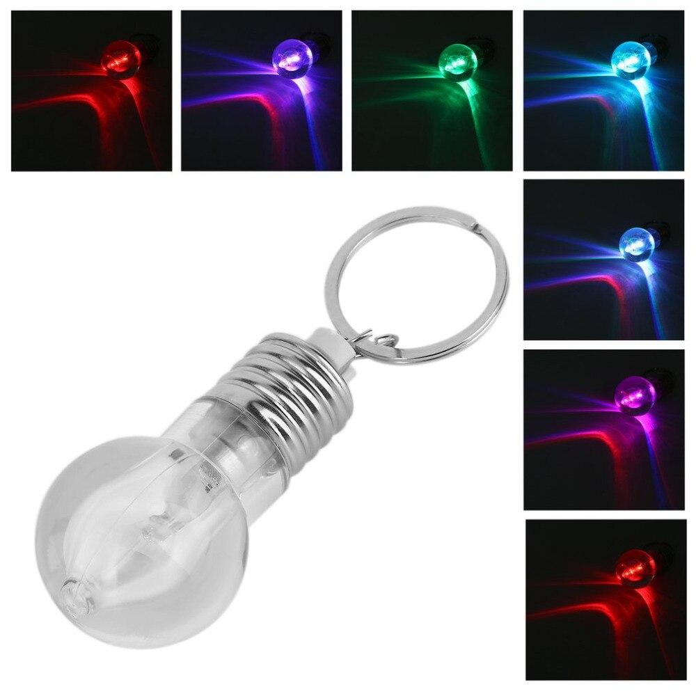1PCS Creative Colorful Changing LED Flashlight Light Mini Bulb Lamp Key Chain Ring Keychain Clear Lamp Torch Keyring Wholesale
