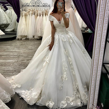 Luxury Arabic Wedding Dresses Dubai Ball Gown Princess Country gown Off The Shoulder Appliques Plus Size Bridal Gowns - discount item  45% OFF Wedding Dresses