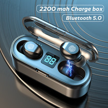 Tws Bluetooth 5.0 Koptelefoon 2200Mah Opladen Doos Draadloze Hoofdtelefoon Geen Vertraging Oordopjes Sport Waterdichte Headsets Met Microfoon