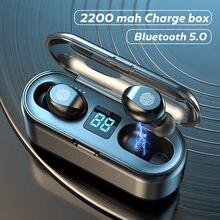 Tws bluetooth 5.0 fones de ouvido 2200mah caixa carregamento sem fio fones sem atraso esportes à prova dwaterproof água com microfone