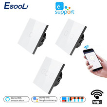 EsooLi Smart Home 1/2/4 Gang 1 way Wireless WiFi EU Standard Touch Switch Wall Light Touch Switch,ewelink App Control(China)