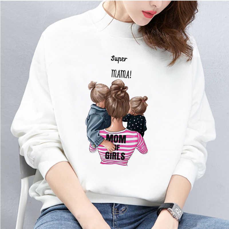 أمي من الفتيات Kawaii الملابس طويلة الأكمام قميص الكورية نمط النساء رياضية سوبر ماما الطباعة هوديس المتناثرة الشارع الشهير