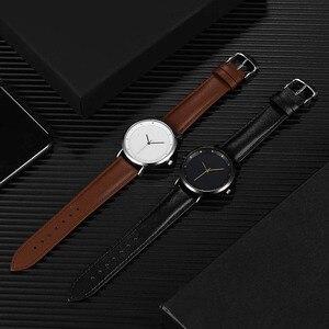 Image 5 - CL056 Full Black Brand Your Logo Custom Watches Genuine Leather Strap Own Logo Mens Watch Original Design reloj personalizado