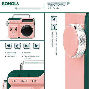 Image 5 - Bonola Retro Radio Forma HiFi Altoparlante Senza Fili del Bluetooth Mini Altoparlante del Bluetooth Portatile Outdoor 3D Stereo HiFi Riproduzione di Musica
