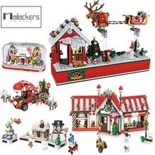 Mailackers Christmas Village Set Creator Expert Santa Claus Figures Flying Chair Building Blocks Bricks Christmas Tree Kids Toys
