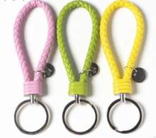 33 Colors PU Leather Braided Woven Rope bts keychain DIY bag Pendant Key Chain Holder Car Keyrings Men Women Keychain(China)