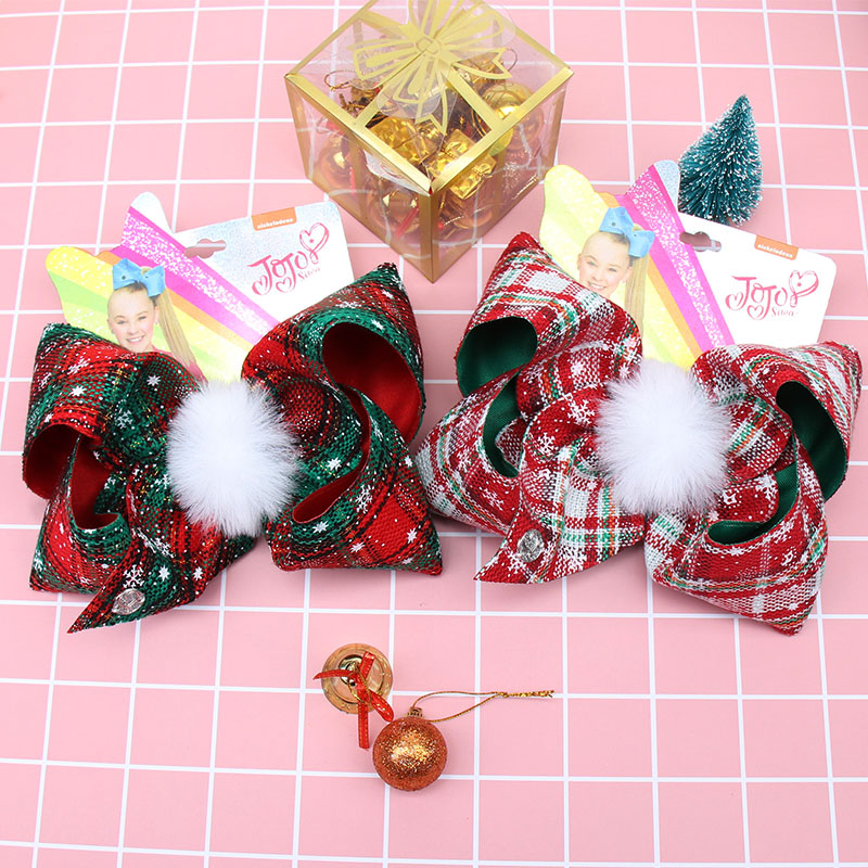New 7'' Large Plaid Hair Bows For Girls Hair Clips Christmas Fur Ball Bowknot Hairgrips Jojo Bows/Jojo Siwa Party Kids Headwear