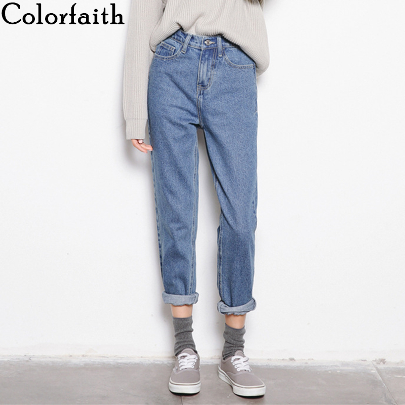Colorfaith 2019 Women Jeans Zipper Fashionable Korean Style High Waist Pants Ladies Ankle-Length Vintage Blue Denim Jeans J8743