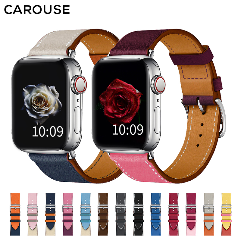 Carouse Single Tour Band For Apple Watch Series 3/2/1 38mm 42mm Genuine Leather Strap For IWatch 4 Sports Watchband 40mm 44mm