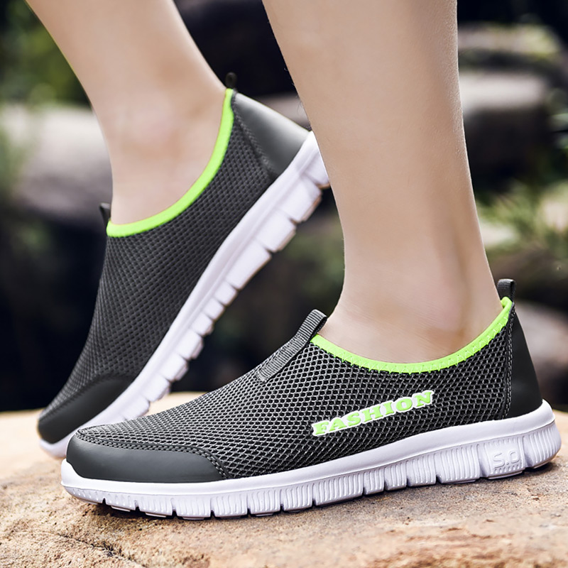 Women's Sports Shoes Plus Size 43-46 Slip On Breathable Air Shoes Girls Solid Wedge Sneaker Shallow Hollow Casual Woman Sneakers