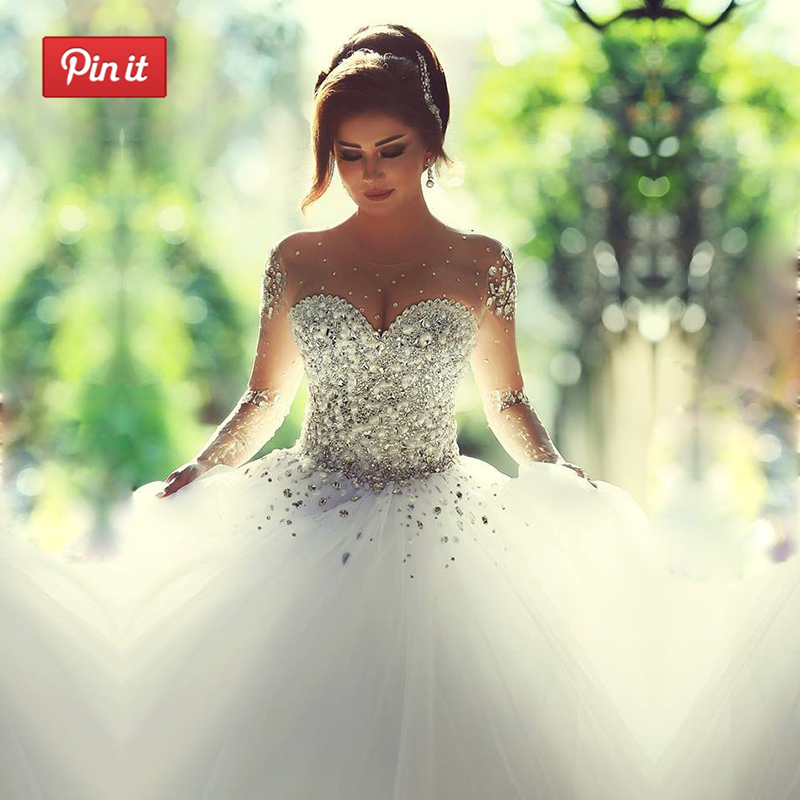 Vestido De Noiva Princess Sheer Long Sleeves A-line Wedding Dresses Beaded Tulle Scoop Neckline Sweep Train Lace Up Bridal Gowns