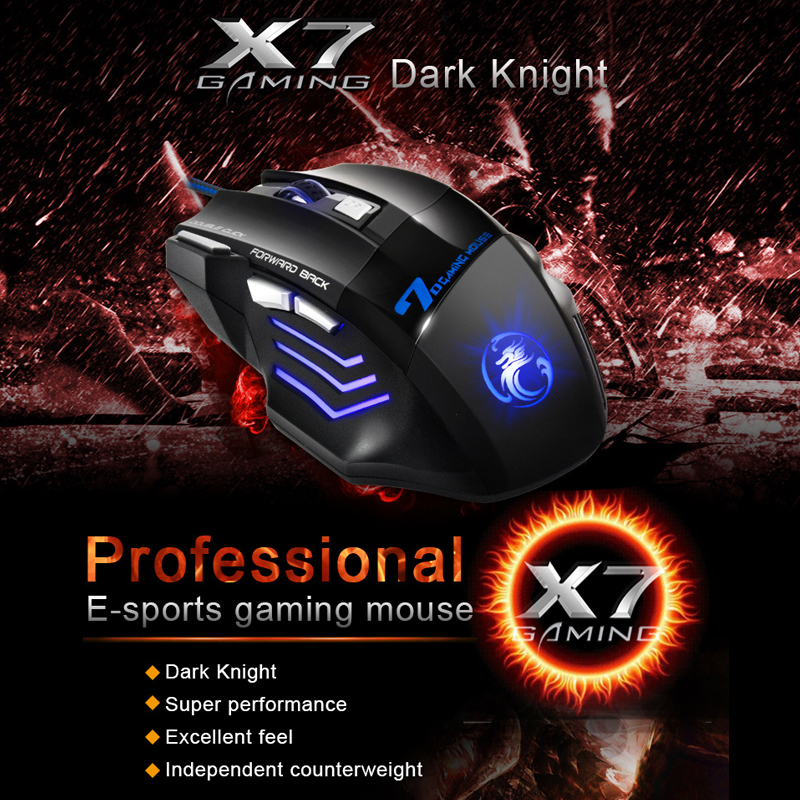 Ergonomic Wired Gaming Mouse 7 Button LED 5500 DPI USB Computer Mouse Gamer Mice X7 Silent Mause With Backlight For PC Laptop 2