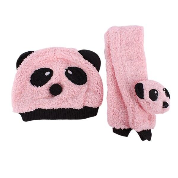 Unisex 1-3Y Baby Girls Boys Winter Hats Neckerchief+Beanie Hat And Scarf Set Cartoon Panda Cap BB75 T55