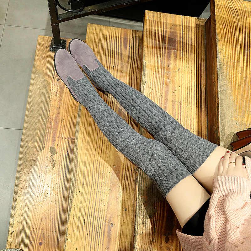 LZJ 2019 kadın yüksek çizmeler sonbahar kış örme yün bayanlar ayakkabı uyluk yüksek çizmeler kadınlar için uzun çizme takozlar kadın çizme