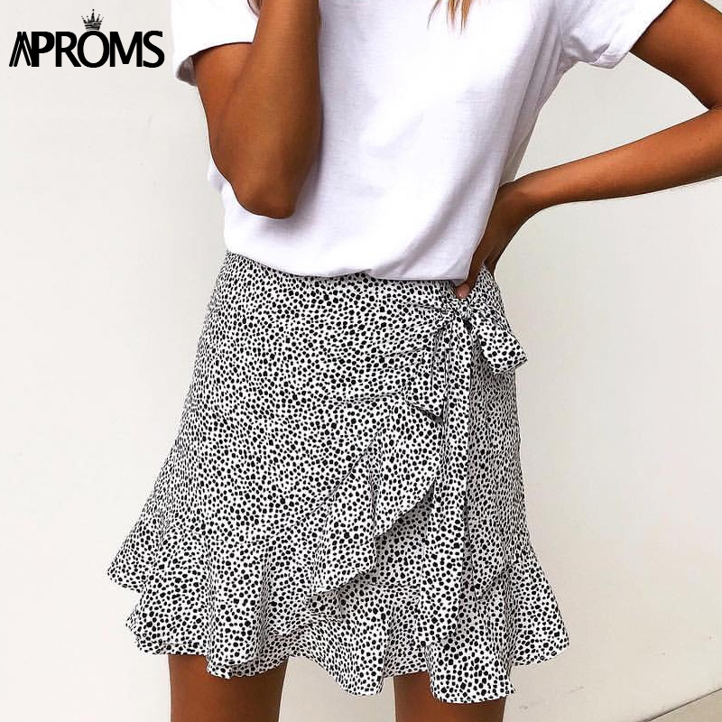 Aproms Multi Dot Print Short Mini Skirts Women Summer Ruffle High Waist Bow Tie Skirt Ladies Streetwear Slim Bottoms Saias 2020