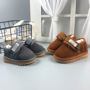 2018 Winter New Style Baby Toddler Shoes CHILDREN'S Thick Plus Velvet Soft-Sole Anti-slip Cotton-padded Shoes Small CHILDREN'S S