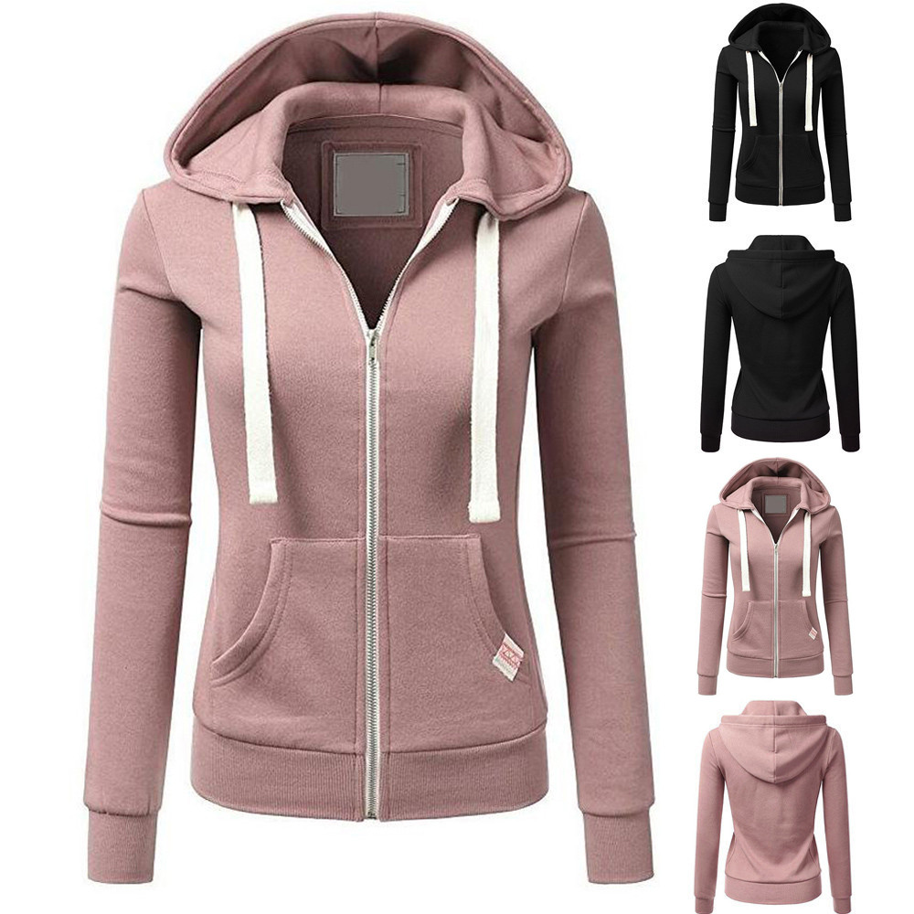 Women Long Sleeve Sweatshirt Patchwork Solid Color Hooded Zipper Casual Sport Coat Outdoor Fitness Clothing