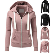 Women Long Sleeve Sweatshirt Patchwork Solid Color Hooded Zipper Casual Sport Coat Outdoor Fitness Clothing