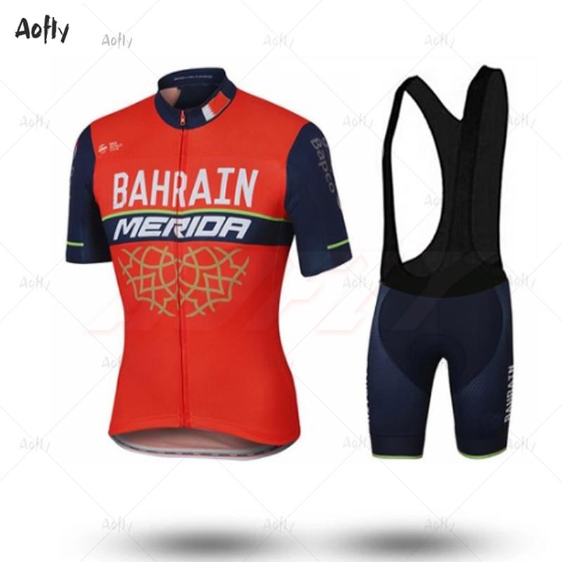 Team Bahrain Merida 2019 Cycling Suit Shirt Clothing Bike Jersey Set Ciclismo Ropa Jacket Bib Shorts Maillot Kit Comfortable Top