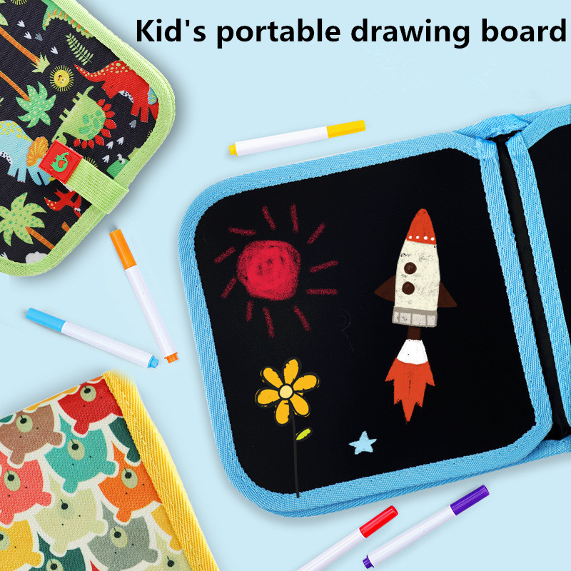 Kids Chalk Board Book Portable Drawing Coloring Book Set Chalk Doodle Cloth Book