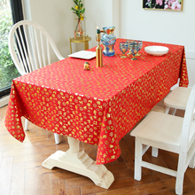 Home Decoration Cotton Linen Red Tablecloth Christmas Gold Gifts Printed Table Cloth Party Decor Rectangle Dining Cover