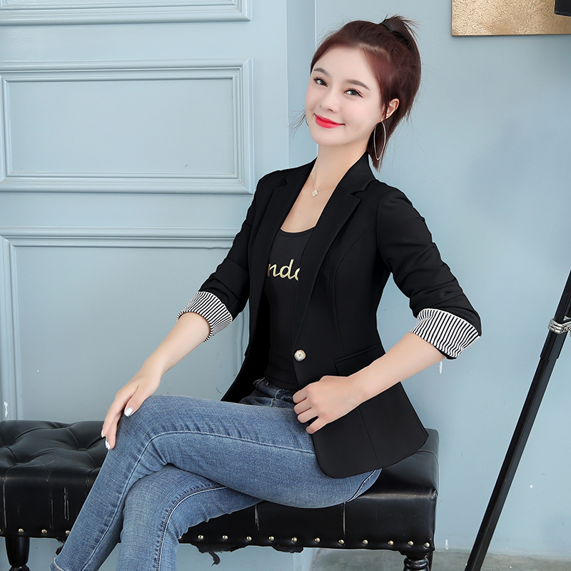 Black Women Blazer 2020 New Formal Blazers Lady Office Work Suit Pockets Jackets Coat Casual Slim Tops Long Sleeve Femme Blazer