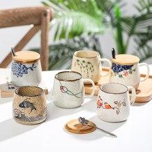 Caneca de café do vintage original japonês estilo retro copos de cerâmica, 380ml muda argila copo café da manhã presente criativo para amigos
