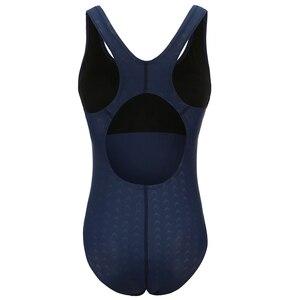 Image 5 - Riseado bañador deportivo de una pieza para mujer, traje de baño de entrenamiento sólido para mujer, traje de baño de espalda