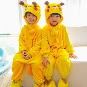 Image 4 - 어린이 크리스마스 잠옷 겨울 따뜻한 플란넬 공룡 잠옷 만화 동물 소년 소녀 모자 새로운 어린이 원피스 잠옷