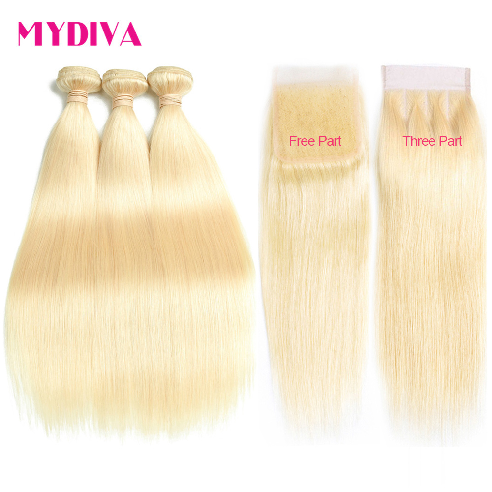 613 Blonde Bundles With Closure Brazilian Straight Hair Bundles With Closure Remy Human Hair Weave Extenstions 10-30 Inch Bundle