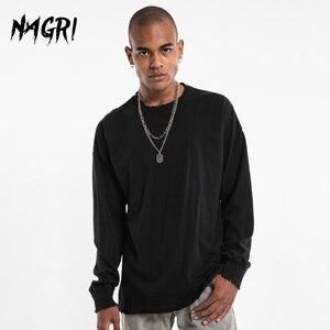 NAGRI Solid Color Ripped Hole Printed T Shirts Mens Streetwear Casual Basic Long Sleeve Top Tees Black White Loose Men Tshirts