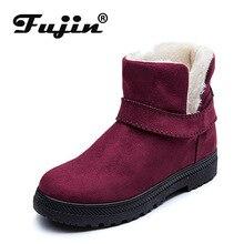 Fujin Winter Casual Women Boots Plus Velvet Cotton Warm Female Snow Side Zipper Tarpaulin Large Size Low Heel Shoes