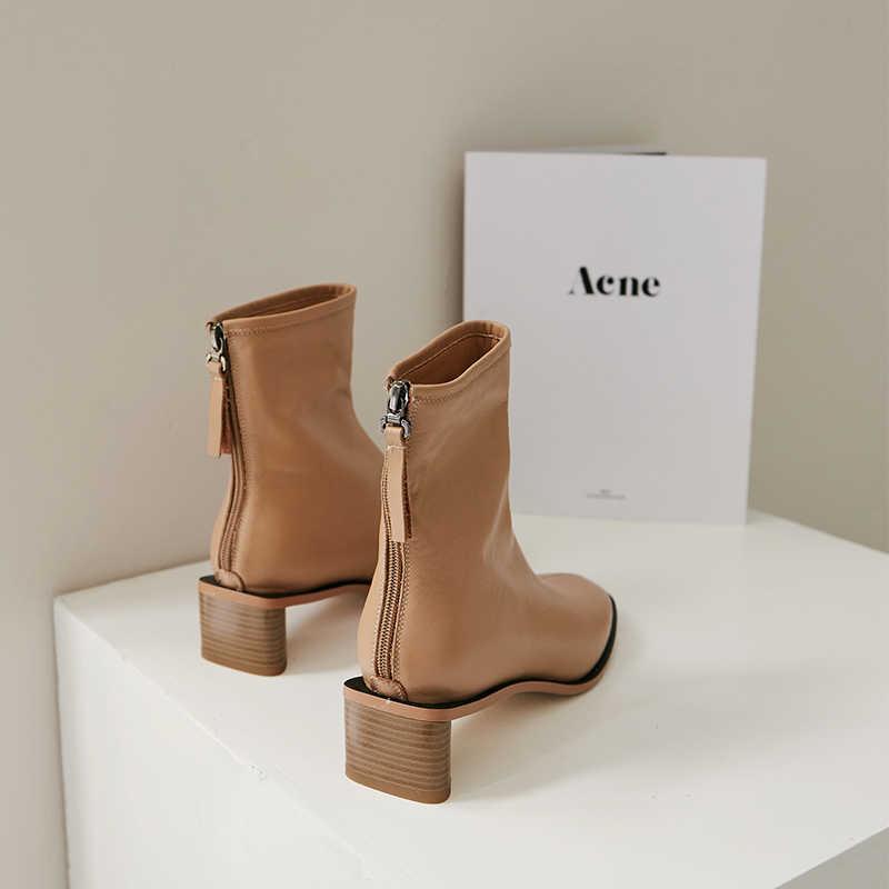 Krazing pot inek deri vintage çizmeler kare ayak kare med topuklar kadın kış sıcak tutmak yumuşak renk özlü yarım çizmeler L00