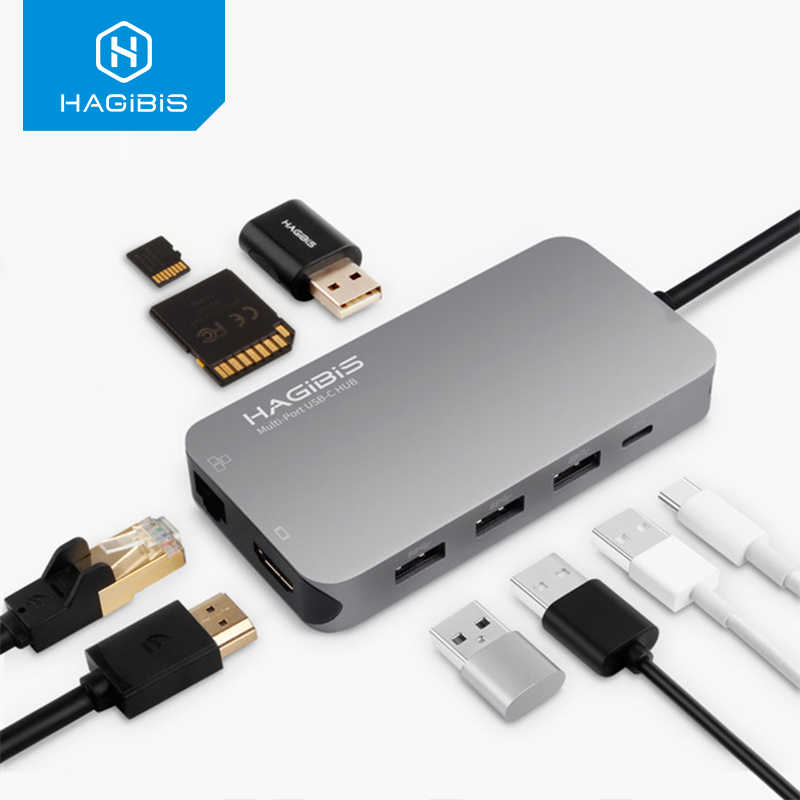 Hagibis 9-In-1 USB C TYPE C HUB 3.0 USB-C Ke HDMI 4K SD/ TF Card Reader PD Pengisian Gigabit Ethernet Adaptor untuk MacBook Pro Hub