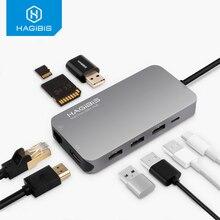 Hagilis 9 em 1 usb c tipo c hub 3.0 USB C para hdmi 4 k sd/tf leitor de cartão pd carregamento gigabit ethernet adaptador para macbook pro hub