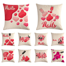 Nordic Pop Art Watercolor Nail Gel Posters Printed Pillowcase Decorative Pillows Cushion Cover Use For Home Sofa Car Office I836
