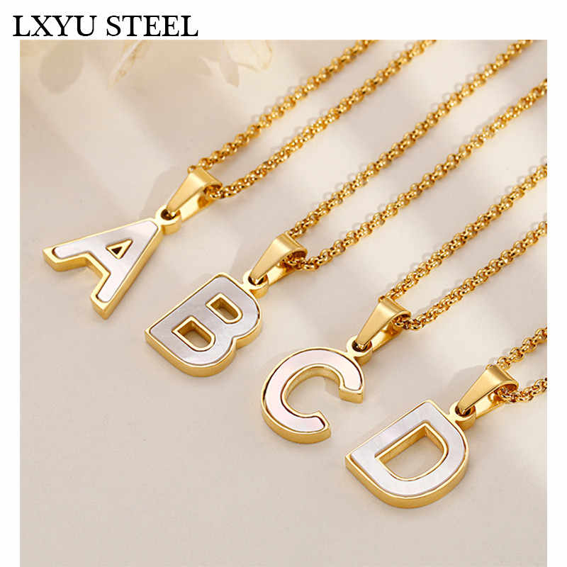 Wholesale Gold/Silver 26 Letter Necklaces Collier Female Alphabet Initial Shell Pendant Necklace Party Daily Jewelry Gift