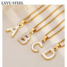 Оптовая продажа золотые/стальные ожерелья с 26 буквами женское