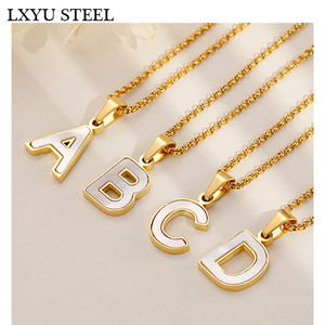 Wholesale Gold/Steel 26 Letter Necklaces Collier Female Alphabet Initial Shell Pendant Necklace Party Daily Jewelry Gift