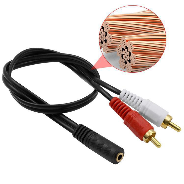 Универсальный 3,5 мм стерео аудио гнездо до 2 RCA штекер для наушников 3,5 Y адаптер кабель 50 см