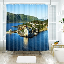 3d Pattern Island City Wild Holiday Resort Shower Curtains Waterproof Thickened Bath Curtains for Bathroom Customizable greek island city guide