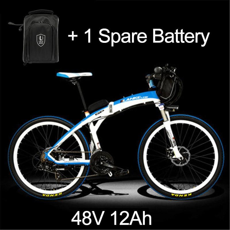 Lankeleisi 189,47 электрический велосипед, складной велосипед, 26 дюймов, 36/48 в, 240 Вт, дисковый тормоз, быстрый складной, горный - Цвет: 12a White Blue Plus