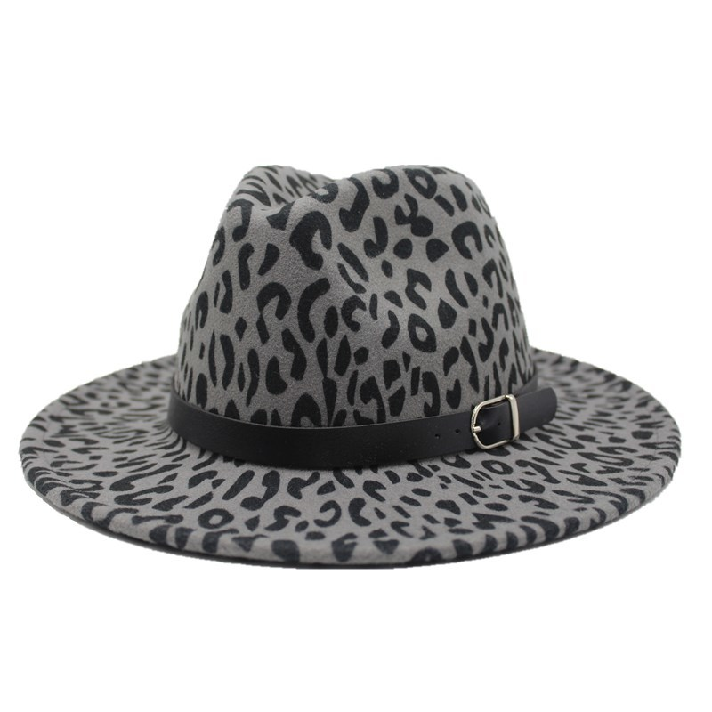 2019 new Trend Unisex Flat Brim Wool Felt Jazz Fedora Hats Men Women Leopard Grain Leather Band Decor Trilby Panama Formal Hats 4
