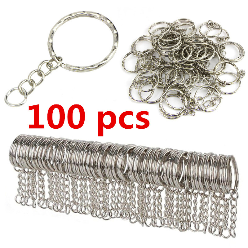 100 Pcs Wholesale 25mm Polished Silver Keyring Keychain Split Ring With Short Chain Key Rings Women Men DIY Best Price